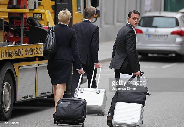 Anja Sturm Wolfgang Heer and Wolfgang Stahl who are the lawyers representing defendant Beate Zschaepe arrive at the Oberlandesgericht...