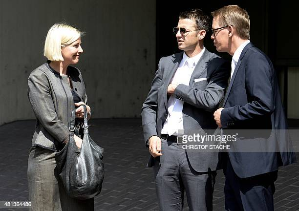 Anja Sturm Wolfgang Stahl and Wolfgang Heer all three lawyers of Beate Zschaepe charged with complicity in the murders of eight ethnic Turks a Greek...