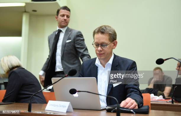 Anja Sturm Wolfgang Stahl and Wolfgang Heer three of the lawyers of codefendant Zschaepe attend court on the day federal prosecutors are expected to...
