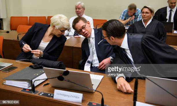 Anja Sturm Wolgang Heer and Wolgang Stahl lawyers of main defendant Beate Zschaepe prepare for their pleas as Holger G looks on during the trial on...