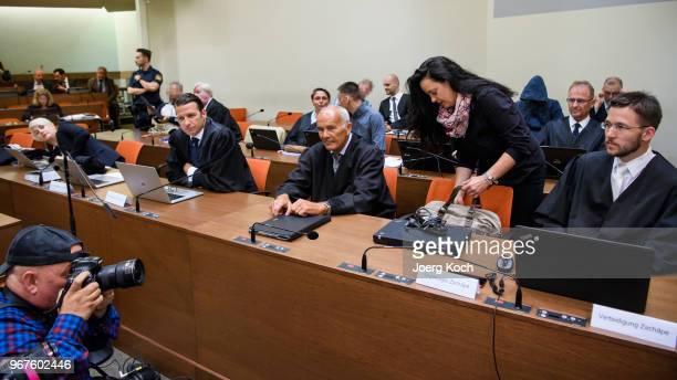 Anja Sturm Wolgang Stahl Hermann Borchert and Mathias Grasel lawyers of main defendant Beate Zschaepe and codefendants Ralf Wohlleben Andre E Carsten...