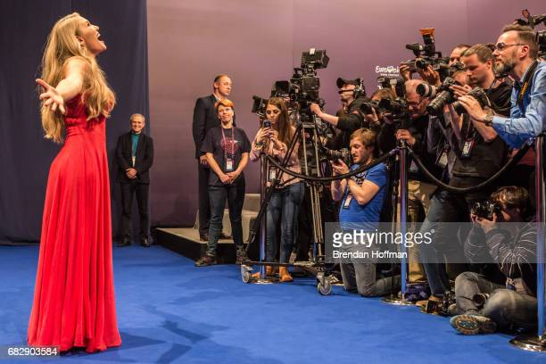 Anja the contestant from Denmark arrives for the postshow press conference following the second Eurovision semifinal on May 11 2017 in Kiev Ukraine...