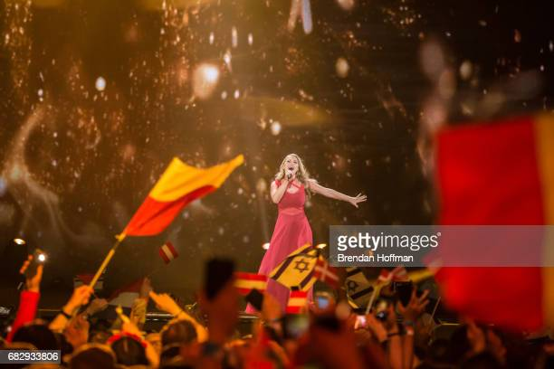 Anja the contestant from Denmark performs during the second Eurovision semifinal on May 11 2017 in Kiev Ukraine Ukraine is the 62nd host of the...