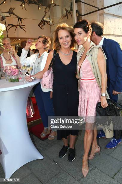 Anja Thyssen and Simone Lippert during the opening ot the Mothwurf store on July 12 2018 at Brienner Strasse in Munich Germany