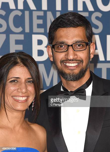 Anjali Pichai and CEO of Google Inc Sundar Pichai arrive at the 3rd Annual Breakthrough Prize Award Ceremony at NASA Ames Research Center on November...