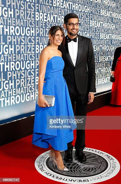 Anjali Pichai and CEO of Google Inc Sundar Pichai attend the 2016 Breakthrough Prize Ceremony on November 8 2015 in Mountain View California