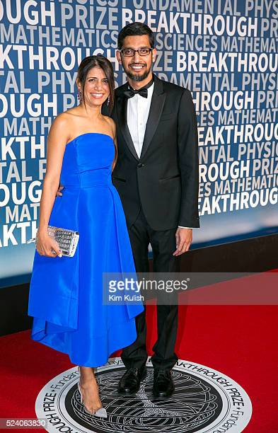 Anjali Pichai and Sundar Pichai CEO of Google Inc arrive at the third annual Breakthrough Prize Ceremony at the NASA Ames Research Center in Mountain...