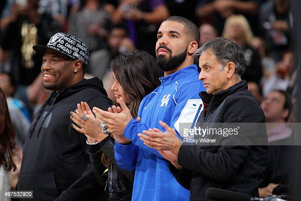 Anjali Ranadive Canadian singer Drake and owner Vivek Ranadive of the Sacramento Kings watch the game between the San Antonio Spurs and Sacramento...