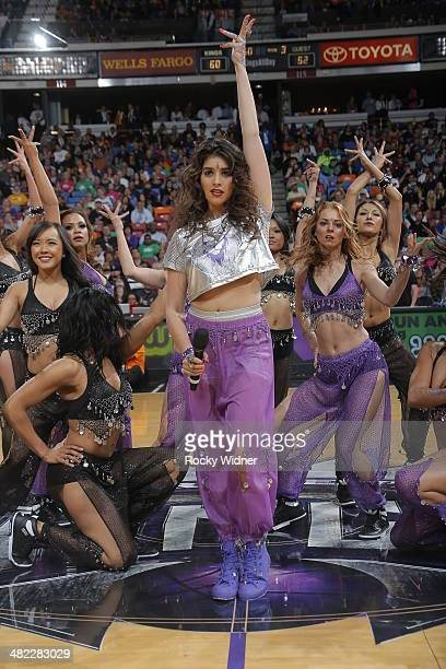 Anjali Ranadive the daughter of Sacramento Kings owner Vivek Ranadive performs during halftime of the Los Angeles Lakers against the Sacramento Kings...