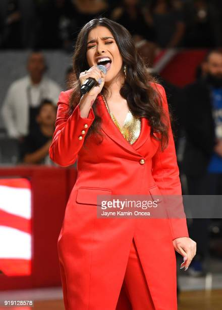 Anjali World sings the American National Anthem prior to the 2018 NBA AllStar Game Celebrity Game at Los Angeles Convention Center on February 16...
