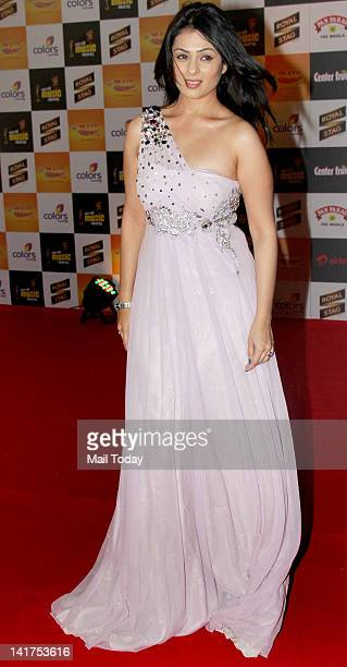 Anjana Sukhani at the Radio Mirchi Music Awards 2012 held at Bhavans College in Mumbai on March 21 2012