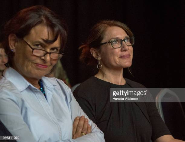 Anja's sister Elke NiedringhausHaasper and award winner Andrea Bruce at the 2018 IWMF Anja Niedringhaus Courage In Photojournalism Awards Ceremony...