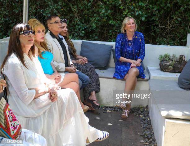Anjelica Houston Charo and Ingrid Newkirk attend 70th birthday party for PETA President Ingrid Newkirk hosted by Anjelica Houston at Plant Food Wine...