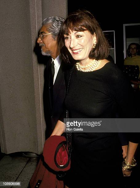 Anjelica Huston and Husband Robert Graham during Performance of 'Madame Butterfly' September 12 1991 at LA Music Center in Los Angeles California...
