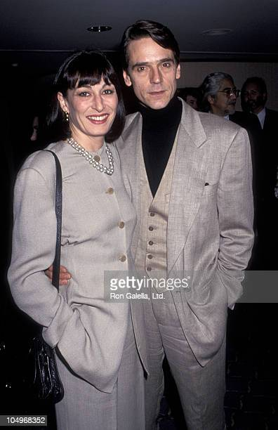 Anjelica Huston and Jeremy Irons during Film Critics Association Awards at Bel Age Hotel in Los Angeles California United States