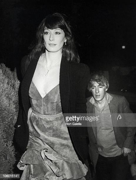 Anjelica Huston and Peter Cook during Birthday Party for Marisa Berenson February 14 1981 at Marisa Berenson's Beverly Hills Home in Beverly Hills...