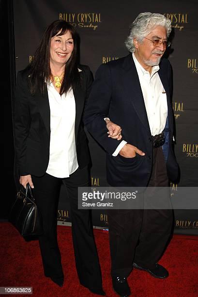 "Anjelica Huston and Robert Graham during Los Angeles Opening Night of The Tony Award Winning Broadway Show Billy Crystal ""700 Sundays"" at Wilshire..."