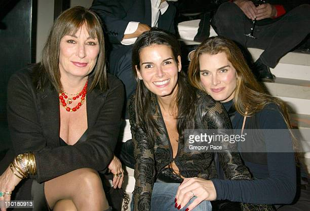 Anjelica Huston Angie Harmon and Brooke Shields during Donna Karan 'Black Cashmere' Launch in New York City New York United States