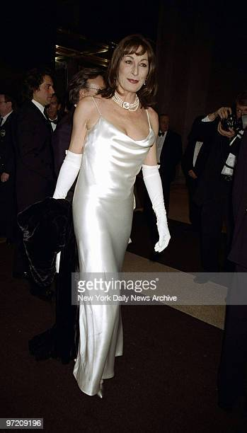 Anjelica Huston arrives at the Costume Institute Gala Rock Style an exhibit of rock 'n' roll fashions at the Metropolitan Museum of Art