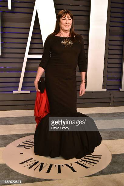 Anjelica Huston attends the 2019 Vanity Fair Oscar Party at Wallis Annenberg Center for the Performing Arts on February 24 2019 in Beverly Hills...