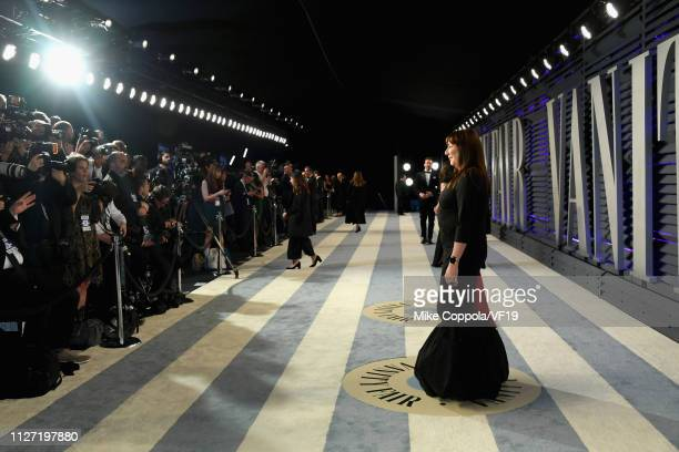 Anjelica Huston attends the 2019 Vanity Fair Oscar Party hosted by Radhika Jones at Wallis Annenberg Center for the Performing Arts on February 24...