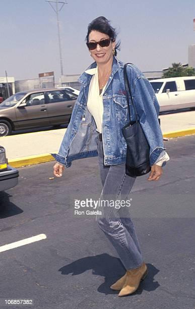 Anjelica Huston during Anjelica Huston at Sighting at the Los Angeles International Airport June 21 1990 at Los Angeles International Airport in Los...