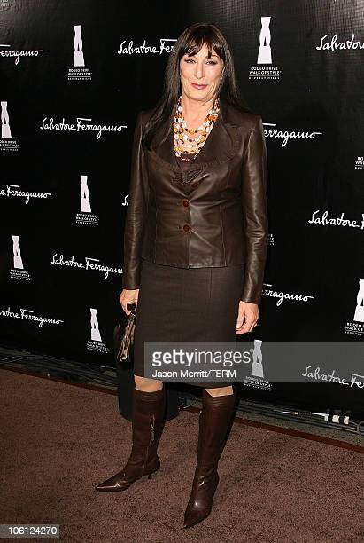 Anjelica Huston during Rodeo Drive 'Walk of Style' Awards Arrivals at Rodeo Drive Beverly Hills in Beverly Hills California United States