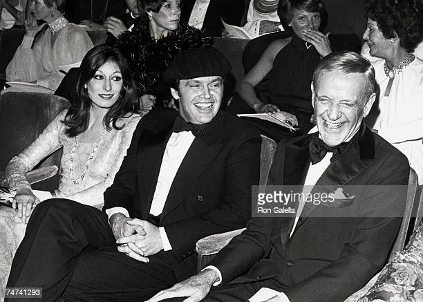 Anjelica Huston Jack Nicholson and Fred Astaire at the Dorothy Chandler Pavilion in Los Angeles California