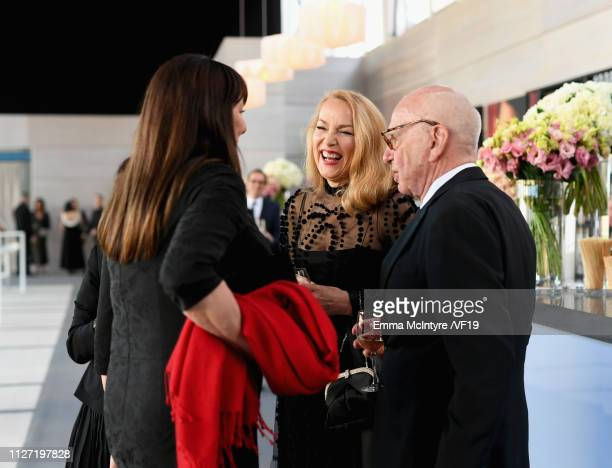 Anjelica Huston Jerry Hall and Rupert Murdoch attends the 2019 Vanity Fair Oscar Party hosted by Radhika Jones at Wallis Annenberg Center for the...