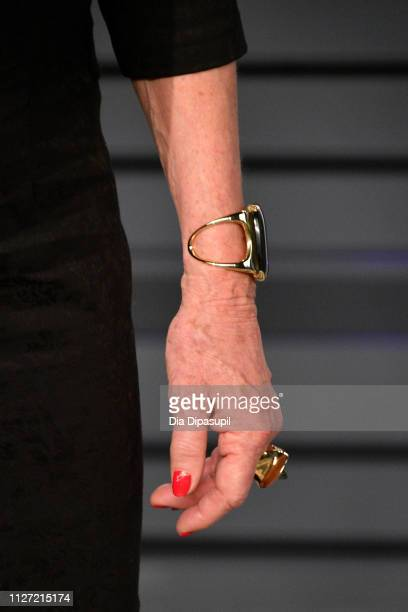 Anjelica Huston jewelry detail attends the 2019 Vanity Fair Oscar Party hosted by Radhika Jones at Wallis Annenberg Center for the Performing Arts on...