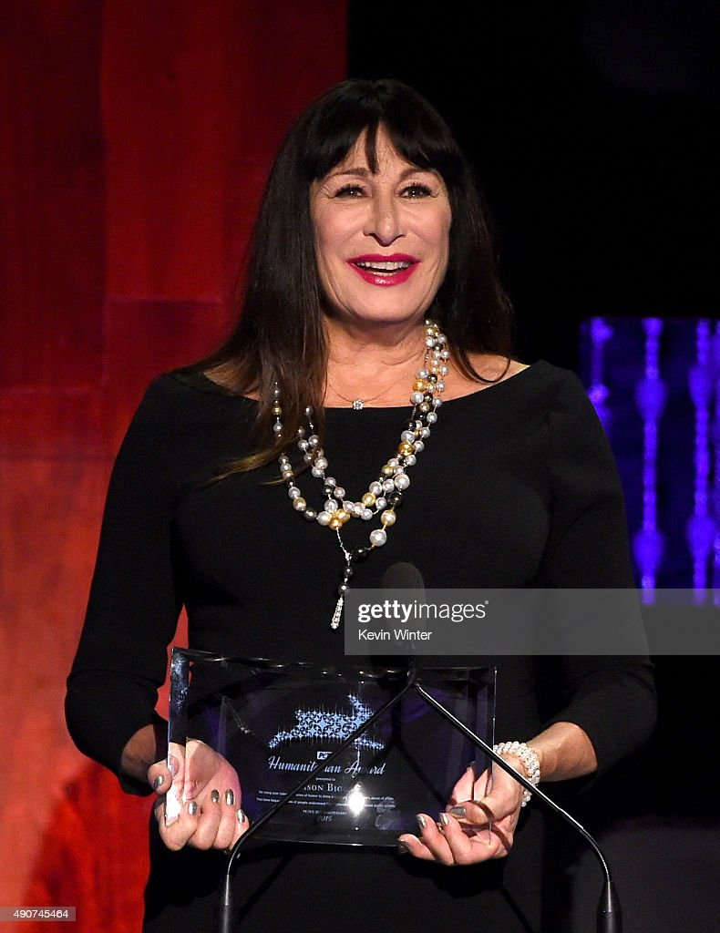 Anjelica Huston speaks onstage at PETA's 35th Anniversary Party at Hollywood Palladium on September 30, 2015 in Los Angeles, California.
