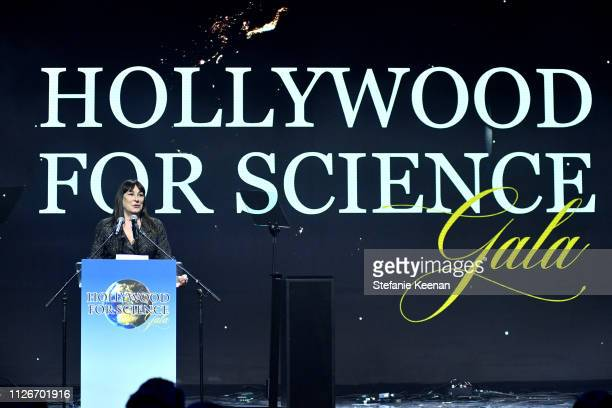Anjelica Huston speaks onstage at the UCLA IoES honors Barbra Streisand and Gisele Bundchen at the 2019 Hollywood for Science Gala on February 21...