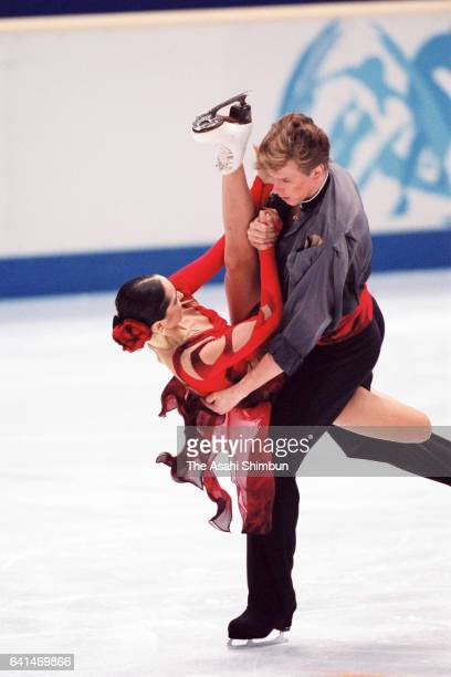 Anjelika Krylova and Oleg Ovsyannikov of Russia compete in the Ice Dance Free Dance during day nine of the Nagano Winter Olympic Games at White Ring...