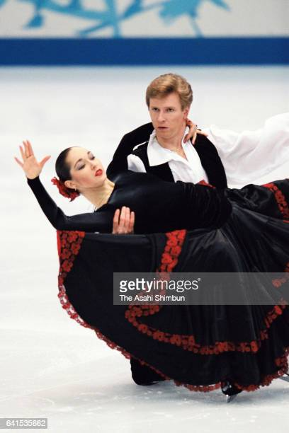 Anjelika Krylova and Oleg Ovsyannikov of Russia perform in the exhibition of the Figure Skating during day fourteen of the Nagano Winter Olympic...