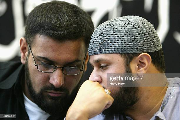 Anjem Choudary leader of radical Islamic group Al Muhajiroun and Abdul Rehman Head of the Islamic Youth Movement convene during a conference...