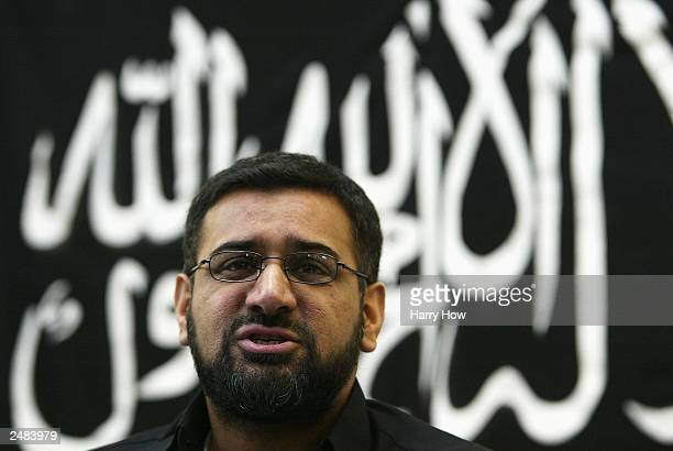 Anjem Choudary leader of radical Islamic group Al Muhajiroun speaks during a conference September 11 2003 in London Al Muhajiroun who have previously...