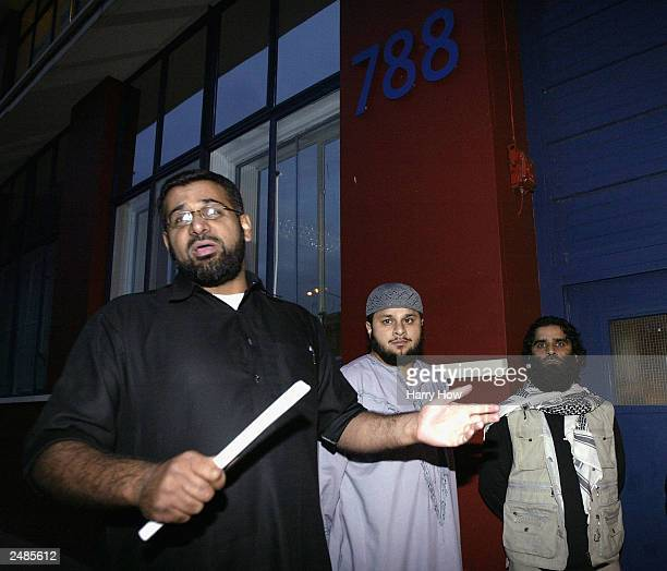 Anjem Choudary leader of radical Islamic group Al Muhajiroun addresses the media in front of his site after police close a planned meeting September...