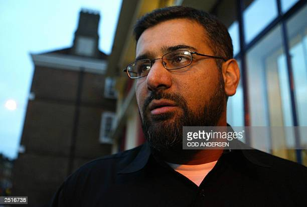 Anjem Choudary leader of the radical Islamic group alMuhajiroun speaks to media outside 788 Tottenham High road in north London 11 September 2003 The...