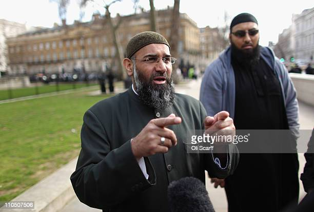 Anjem Choudary speaks at a protest opposite Downing street against the military action taken by the UK USA and France against Libya on March 21 2011...