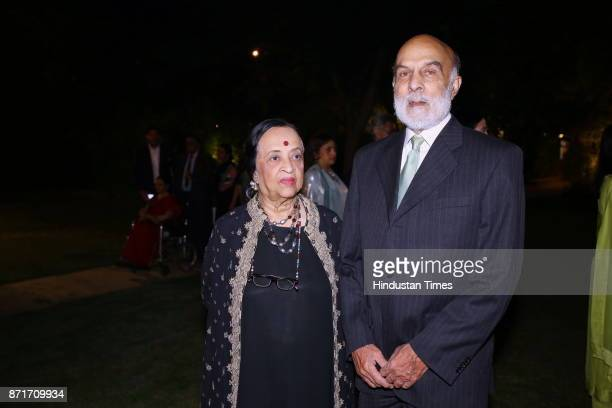 Anjolie Ela Menon with Admiral Raja Menon during the fundraiser for Lepra India Trust at the residence of the British High Commissioner Sir Dominic...
