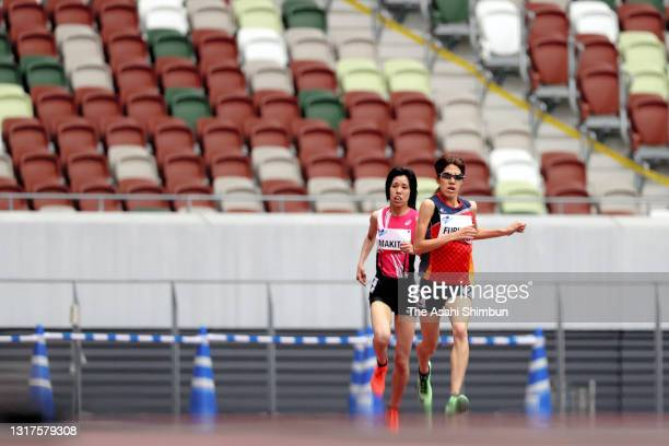 Anju Furuya competes in the Women's 1,500m T20 during the Para Athletics test event at the National Stadium on May 11, 2021 in Tokyo, Japan.