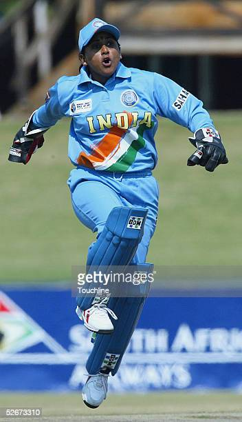 Anju Jain of India celebrates a wiciket during the IWCC Women's World Cup Final match between India and Australia at Supersport Park Stadium on April...