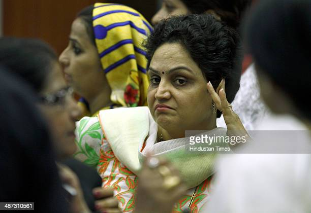 Anju Meherwal sister of Indian cricketer Virender Sehwag during elections for the mayor and deputy mayor of South Delhi Municipal Election at Civic...