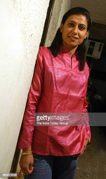 Anjum Chopra former captain of the Indian women's cricket team and now an anchor on a TV sports show at her residence in New Delhi India