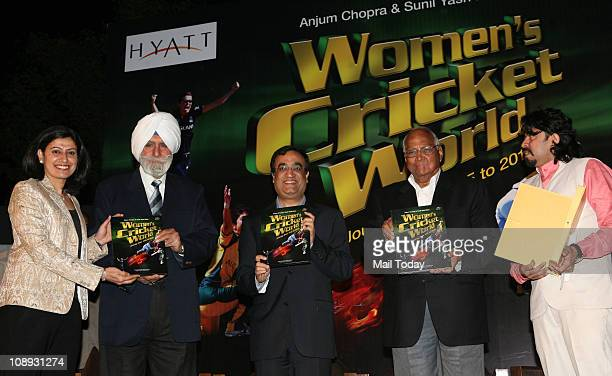 Anjum Chopra IHF President KPS Gill Sports Minister Ajay Maken and Sharad Pawar during the release of a book 'Women's Cricket World 17452013' by...