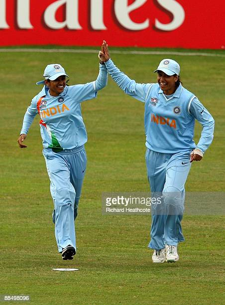 Anjum Chopra of India celebrates catching Eshani Kaushalya Lokusooriya of Sri lanka during the ICC Women's Twenty20 World Cup match between India and...