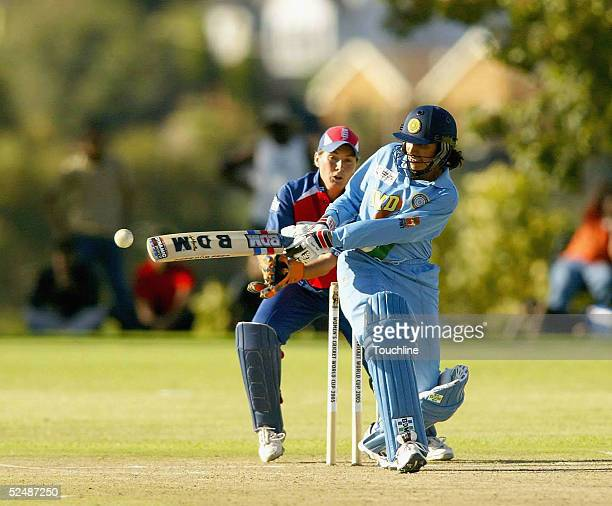 Anjum Chopra of India hits out during the England v India Women's World Cup match on March 28 2005 at Laudium Cricket Oval in Pretoria South Africa