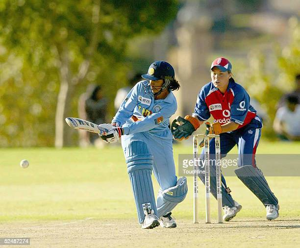 Anjum Chopra of India iaction during the England v India Women's World Cup match on March 28 2005 at Laudium Cricket Oval in Pretoria South Africa
