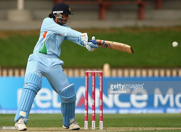 Anjum Chopra of India plays a cut shot during the ICC Women's World Cup 2009 Super Six match between Australia and India at North Sydney Oval on...