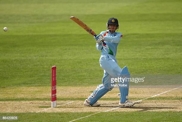 Anjum Chopra of India plays a pull shot during the ICC Women's World Cup 2009 Super Six match between Australia and India at North Sydney Oval on...